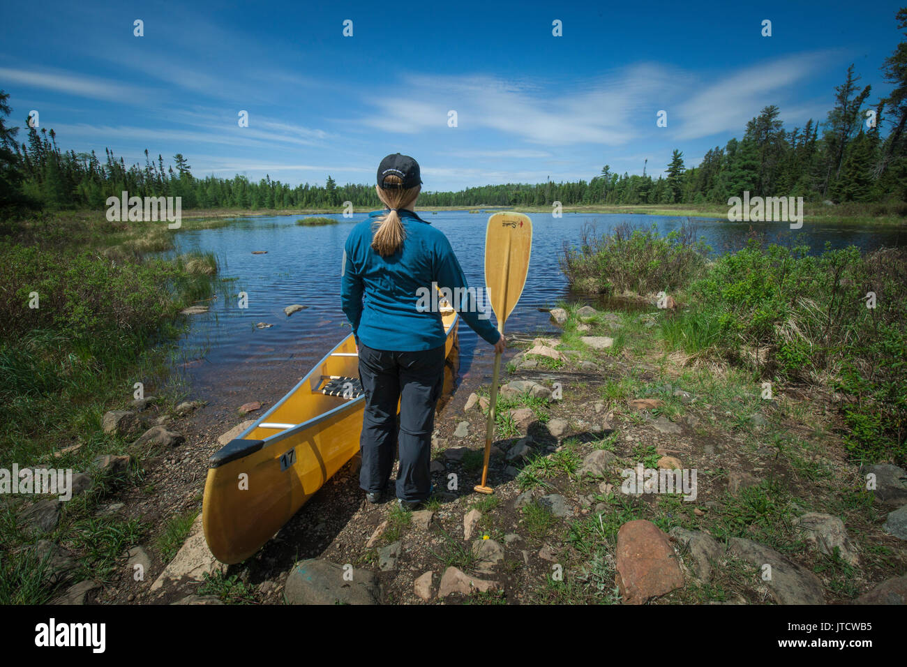A female paddler portages her canoe across a trail in the Boundary Waters Canoe Area Wilderness (BWCAW). - Stock Image