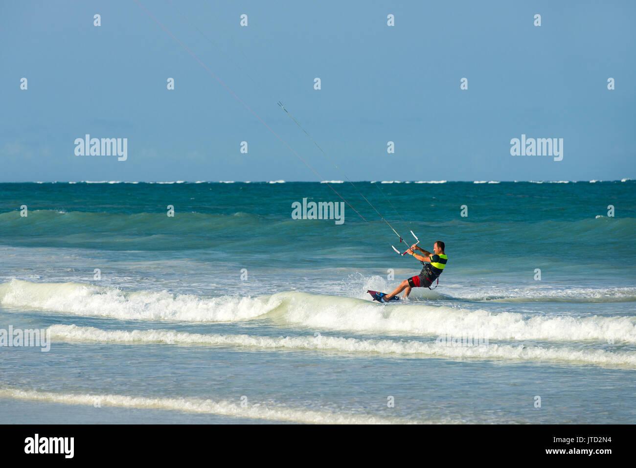 Kite surfer, Diani, Kenya - Stock Image