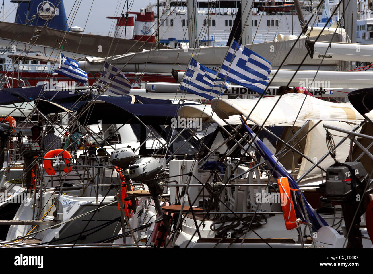 Lavrio Port Attica Greece Yachts with Greek Flags - Stock Image