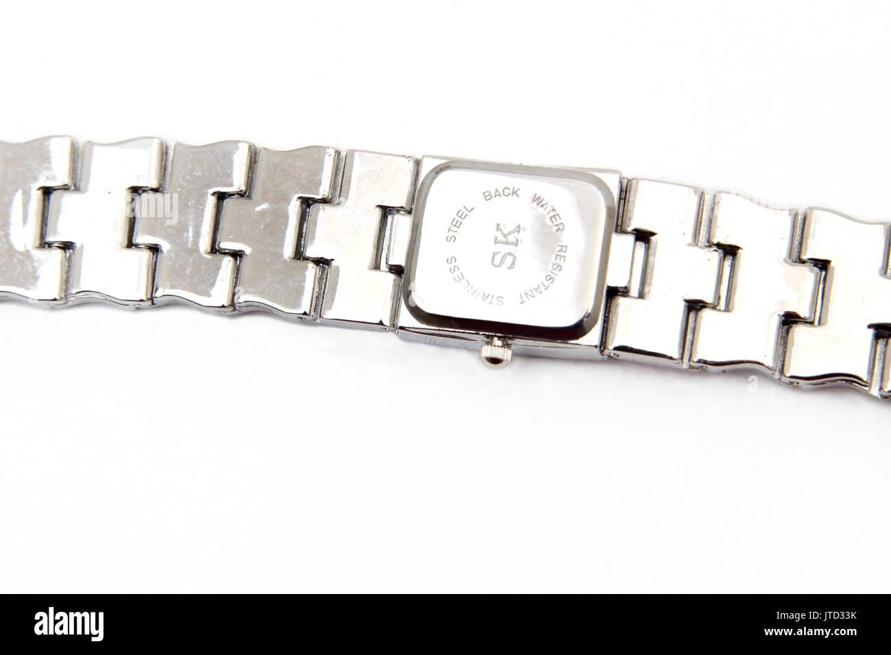 Back of Stainless Steel and Enamel  SK Shengke Wrist Watch - Stock Image