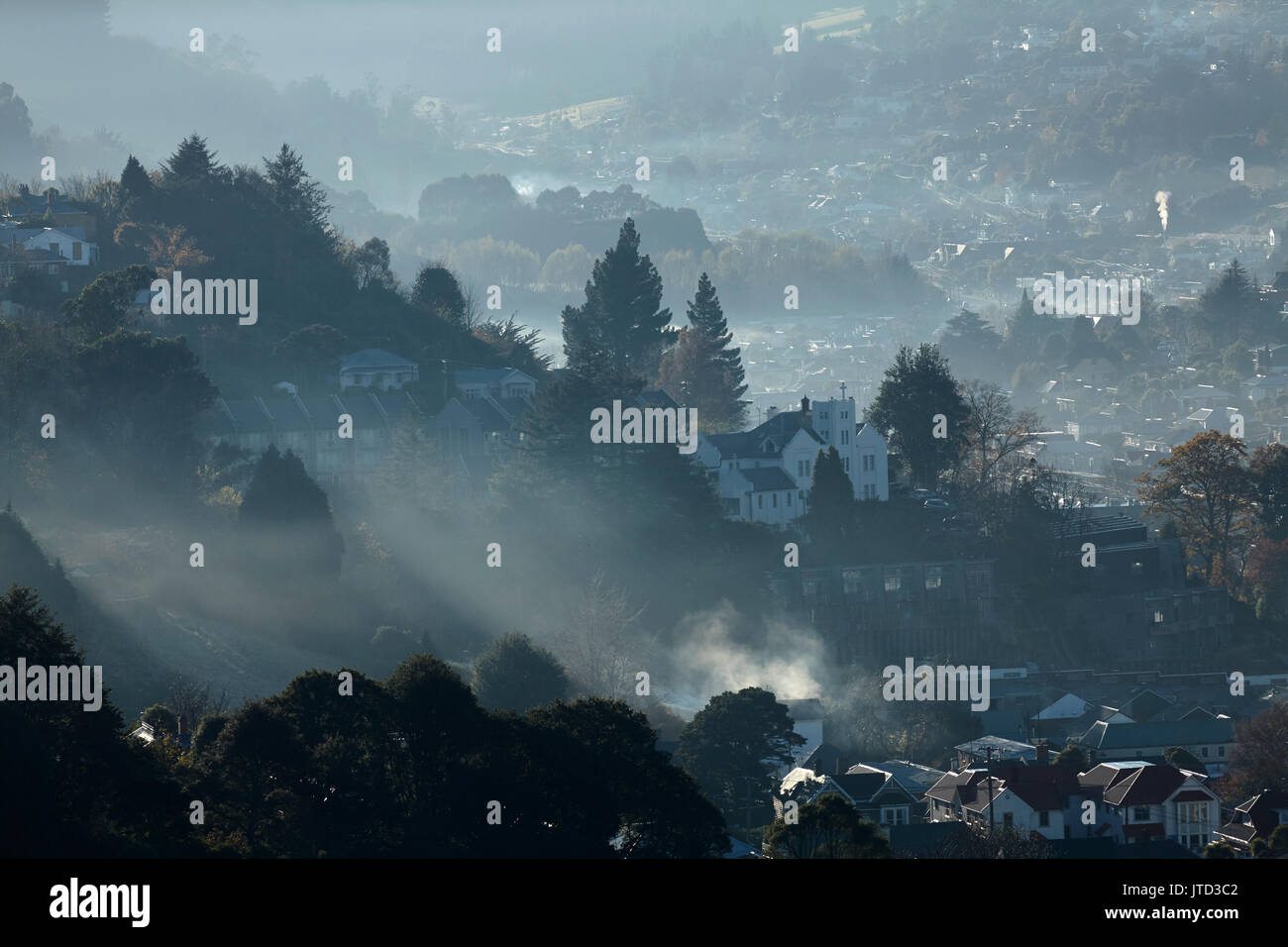 Air Pollution, North East Valley, Dunedin, Otago, South Island, New Zealand - Stock Image