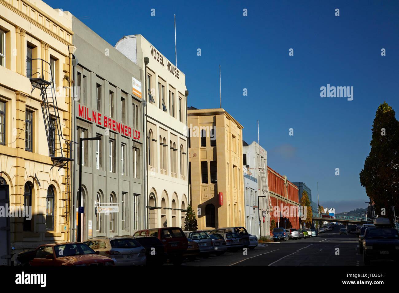Historic buildings, Vogel Street, Dunedin, South Island, New Zealand - Stock Image