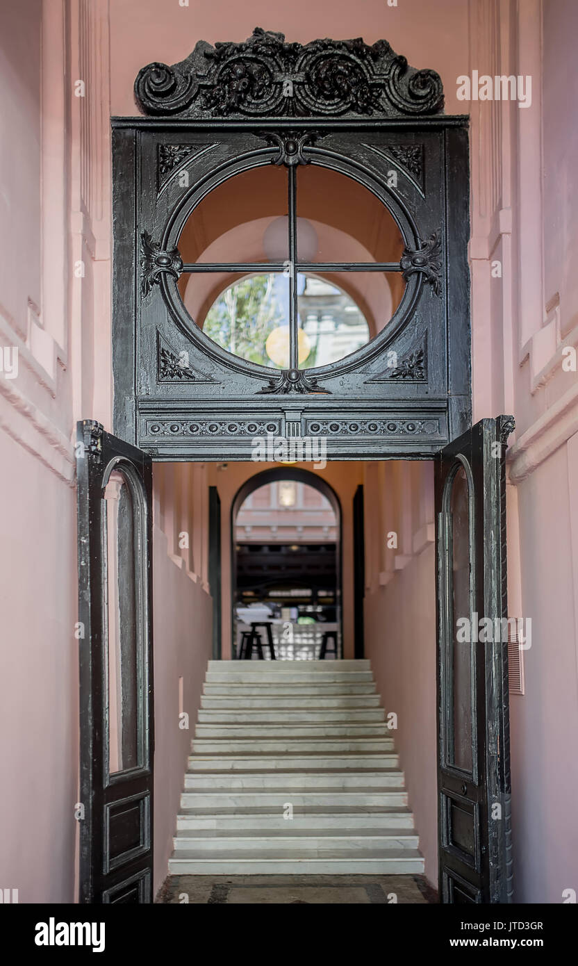 Entrance To The Restaurant With Dark Wooden Doors And A Same Round Stock Photo Alamy
