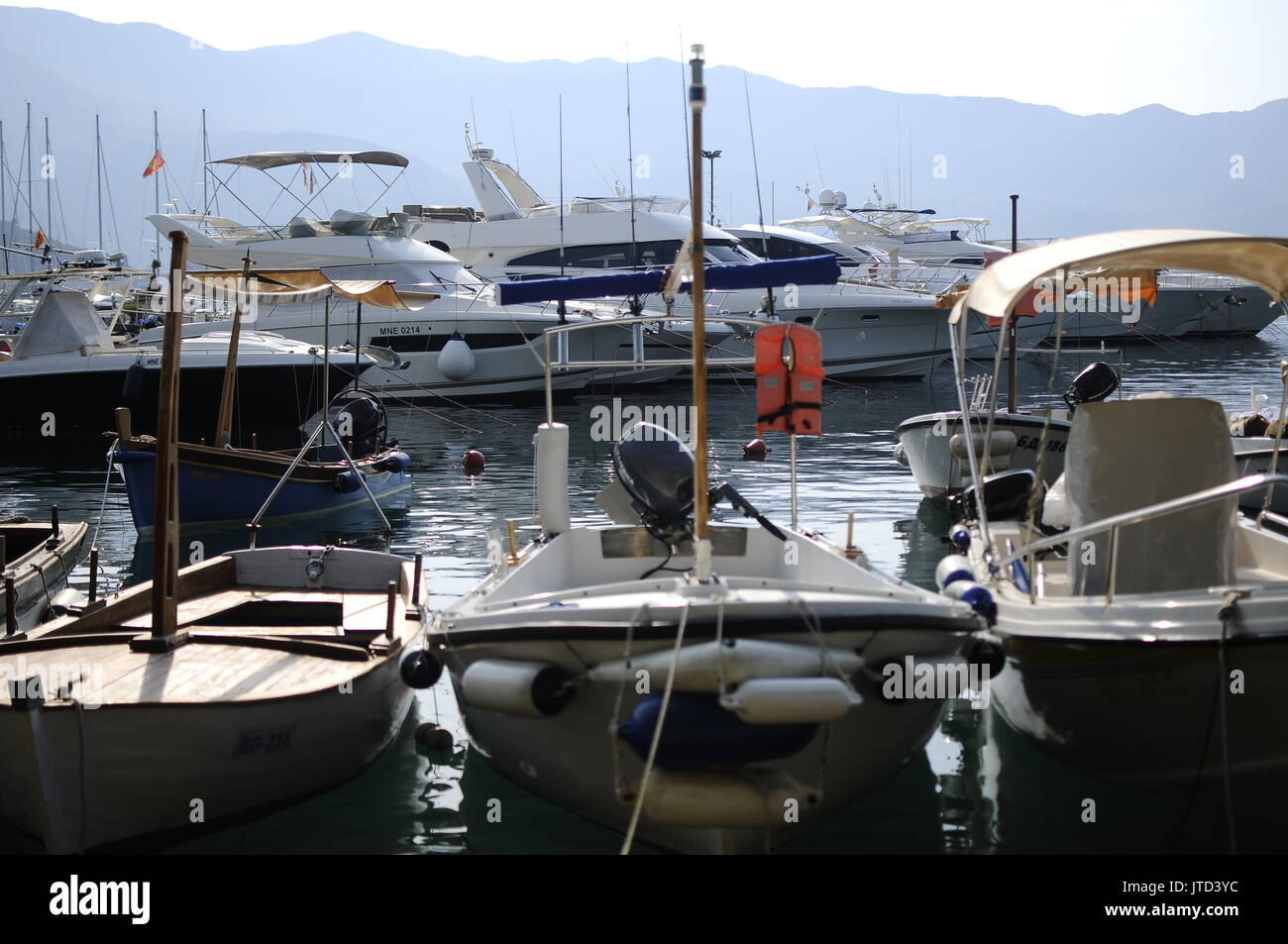 Local sea scenes from Budva city in Montenegro - Stock Image