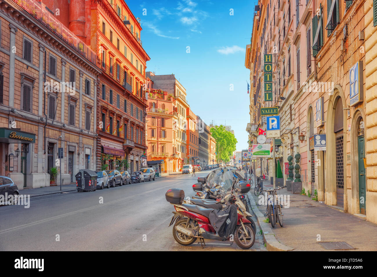 ROME, ITALY-MAY 08, 2017:  Beautiful landscape  urban and historical view of the Rome, street, people, tourists on it, urban life of the big and ancie - Stock Image