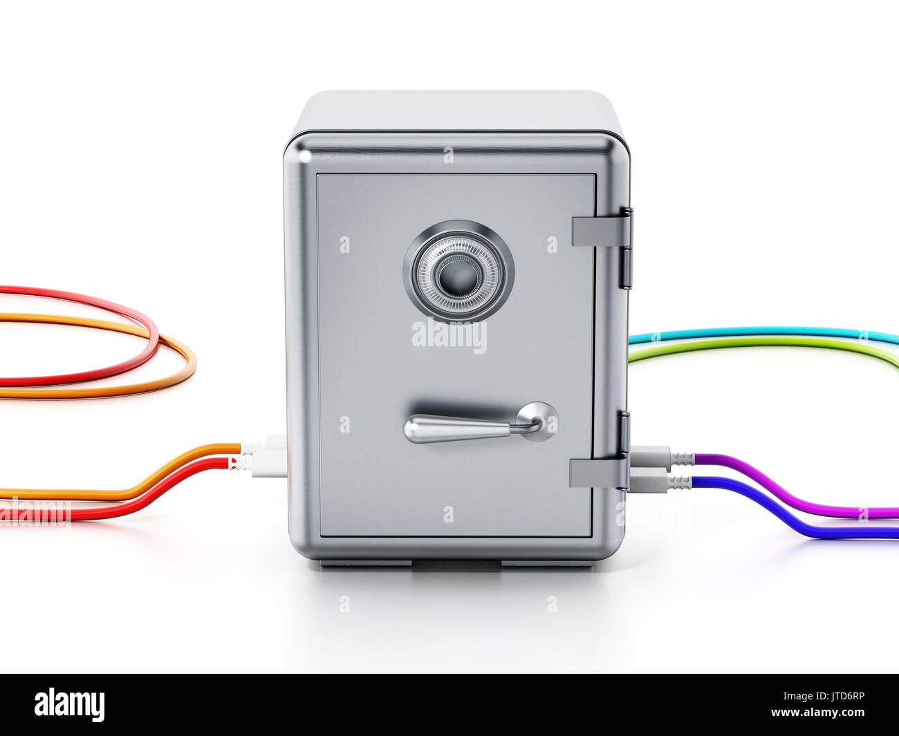 Usb Wire Stock Photos Images Alamy Wiring A Plug Cables Connected To Steel Safe 3d Illustration Image