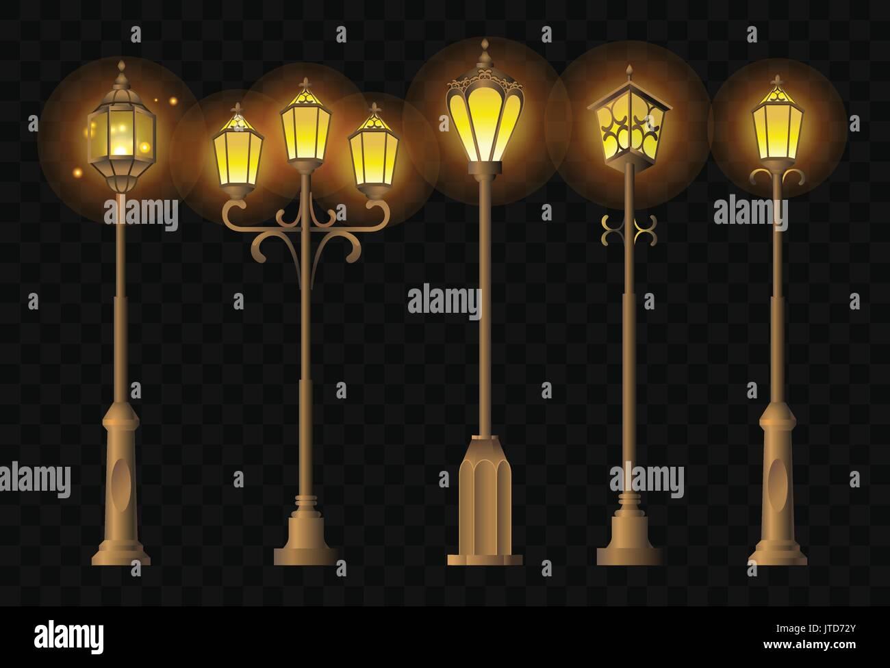 Street Lights - realistic vector clip art set of lanterns Stock Vector