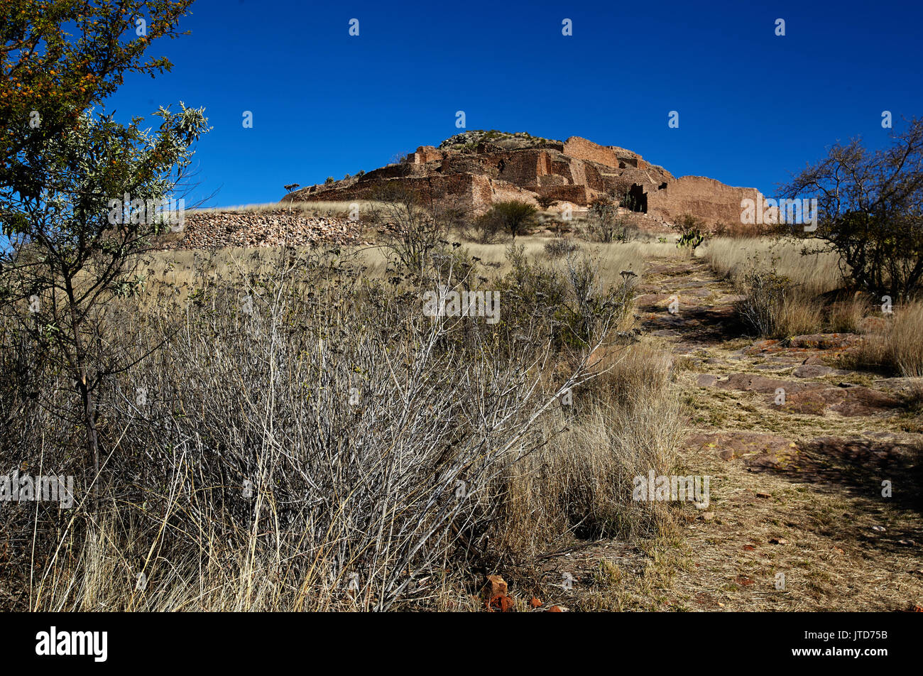America; Mexico; Zacatecas; Malpaso valley;Pre hispanic; archaeological site La Quemada ; First occupied from about 200-300 A.D., its population peaked after 500 A.D., before the site was abandoned shortly after 900 A.D. Little is known about the first settlers here. 18th century historians conjectured the site's construction might have been made by the transient Chicomostoc culture. But the constructions are clearly too extensive, and the quality of architecture - Stock Image