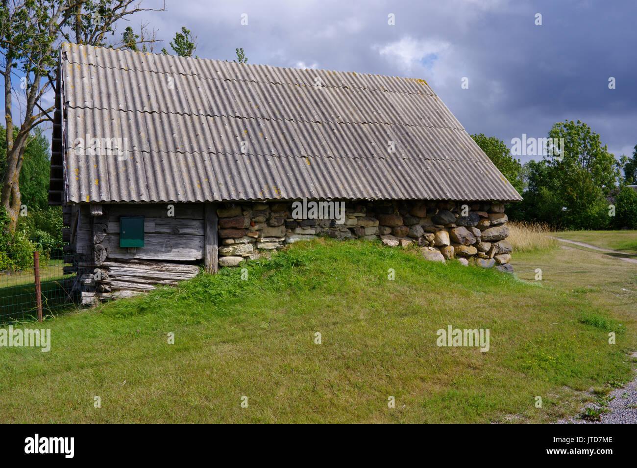 Old barn in island Kihnu. Estonia 5th August 2017 Stock Photo