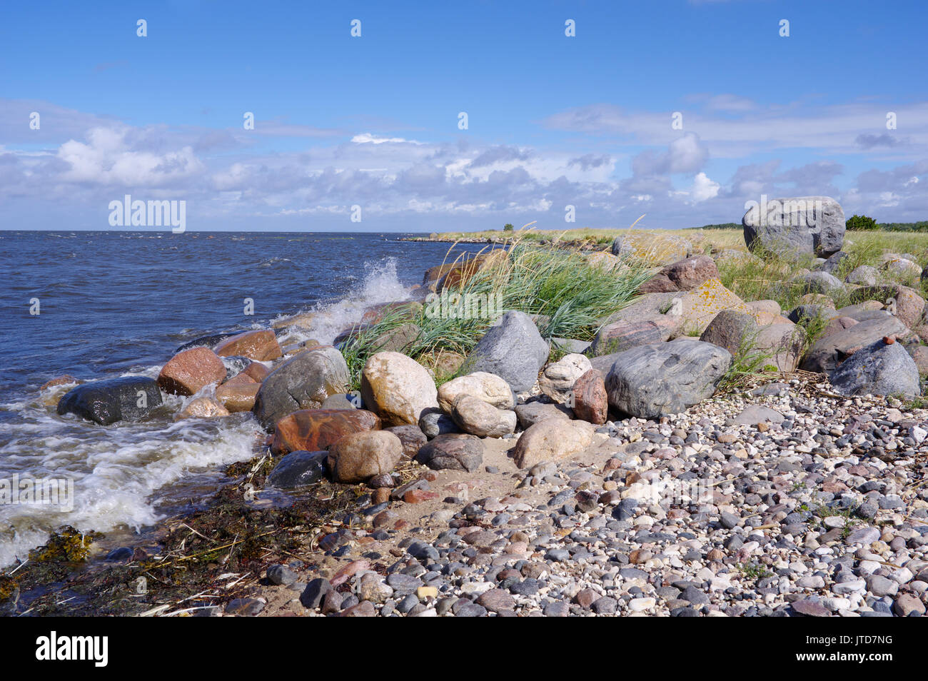 Kihnu coastline. Island Kihnu, Estonia, Baltic States, 5th August 2017 Stock Photo