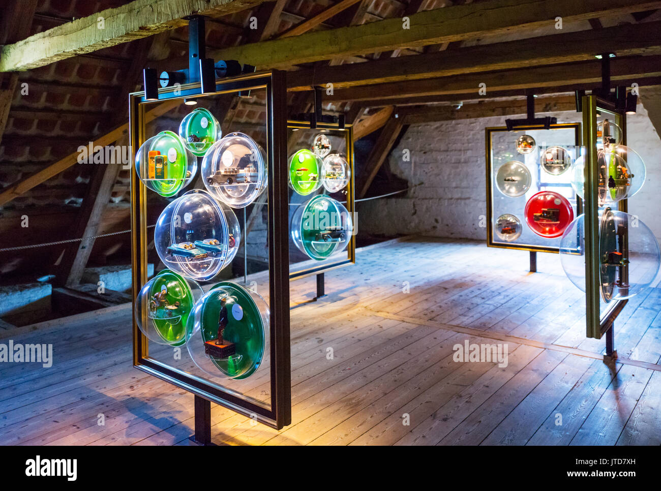Kvaerndrup, Denmark, Art works with cars models in the attic of the Egeskov castle - Stock Image