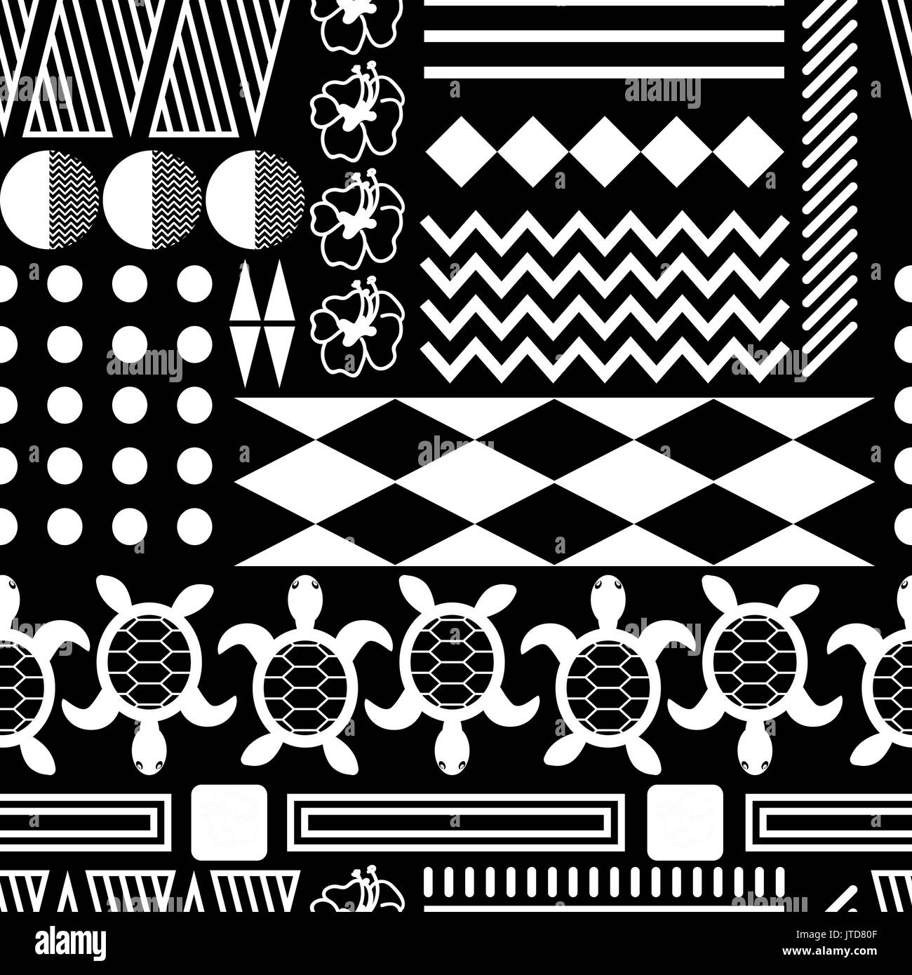 Black and white hawaiian culture ornament seamless vector pattern. Ethnic tileable tribe background with triangles, lines and turtle elements. - Stock Image
