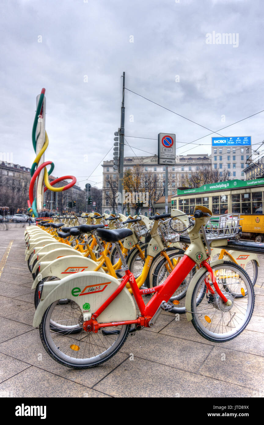 Italy, Lombardy, Milan, bike sharing in Cadorna square - Stock Image