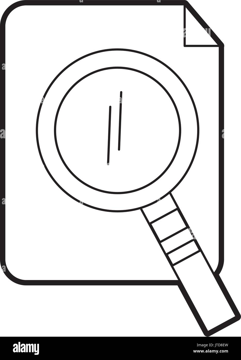 search magnifying glass with paper - Stock Image