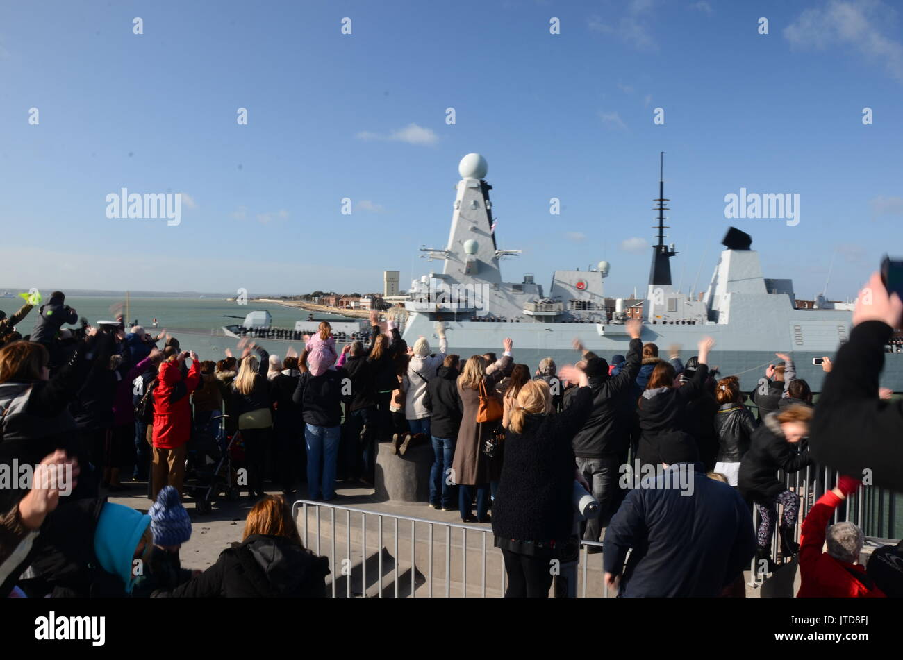 HMS Duncan, type 45 destroyer in the river Solent, Portsmouth - Stock Image