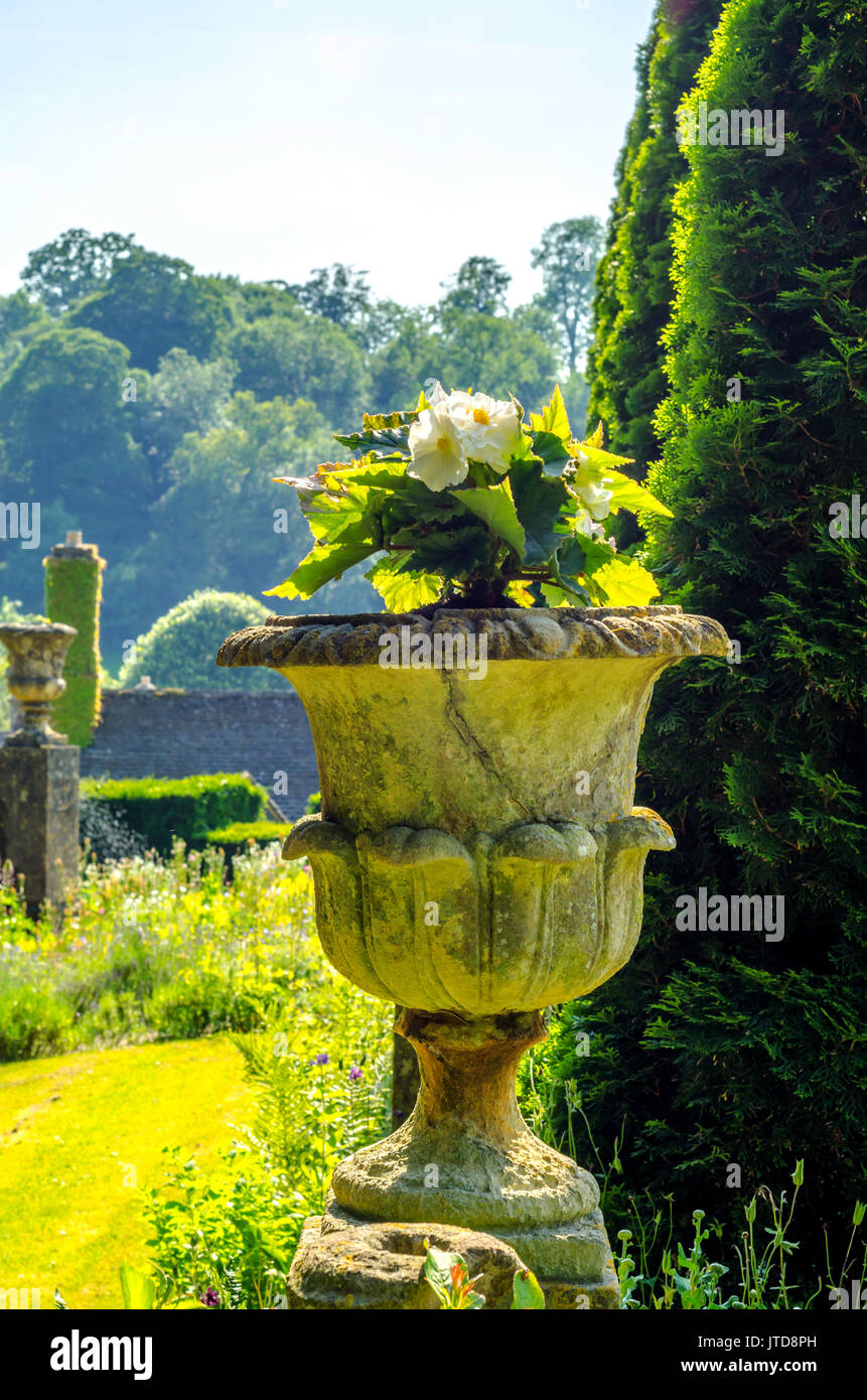 Alamy & Concrete flower pots in the garden on a pedestal stylized antique a ...