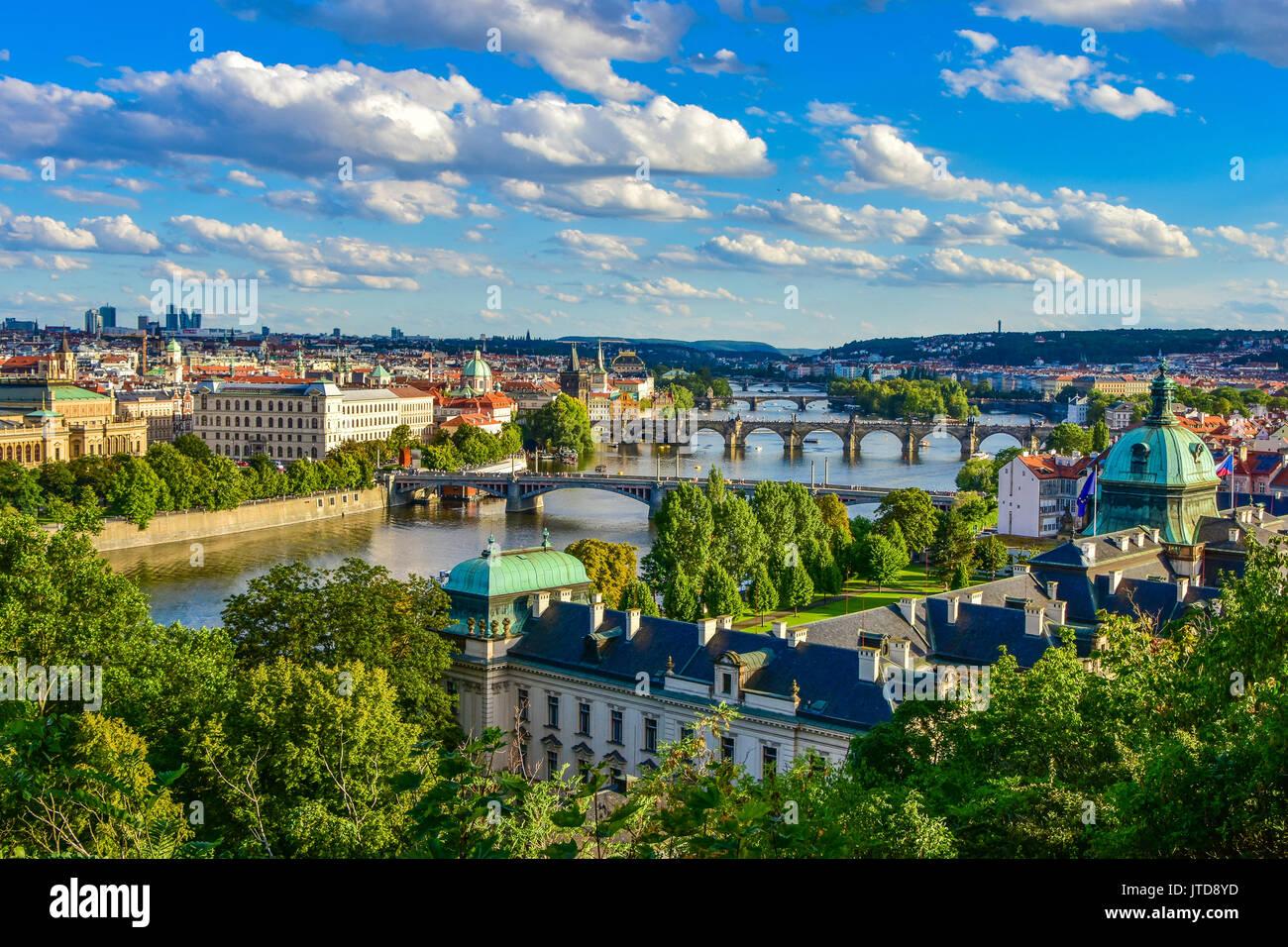 Charles Bridge and other bridges across the Vltava River in Prague, Czech Republic - Stock Image