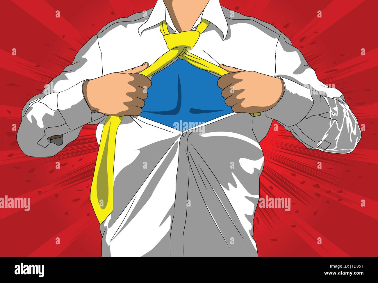 Pop art businessman acting like a super hero. Tearing his shirt off with space on his chest. Vector illustrated comic book style, cartoon man. - Stock Vector