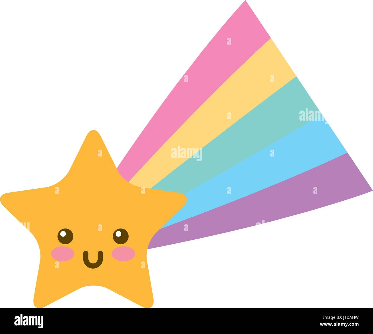 Shooting Star kawaii character - Stock Image