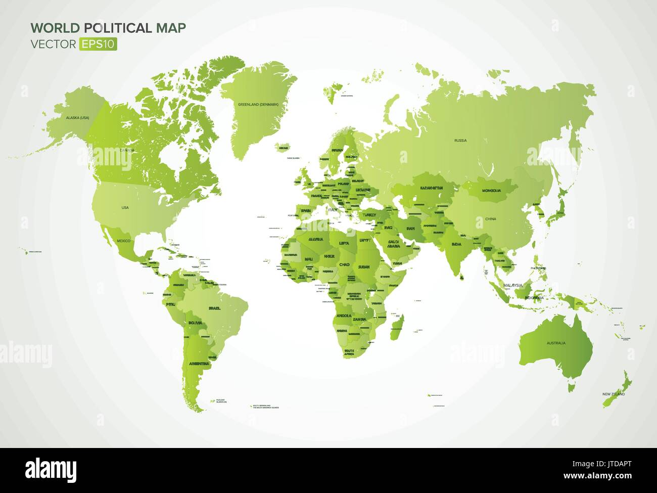 Vector political map with the names of all countries in ...