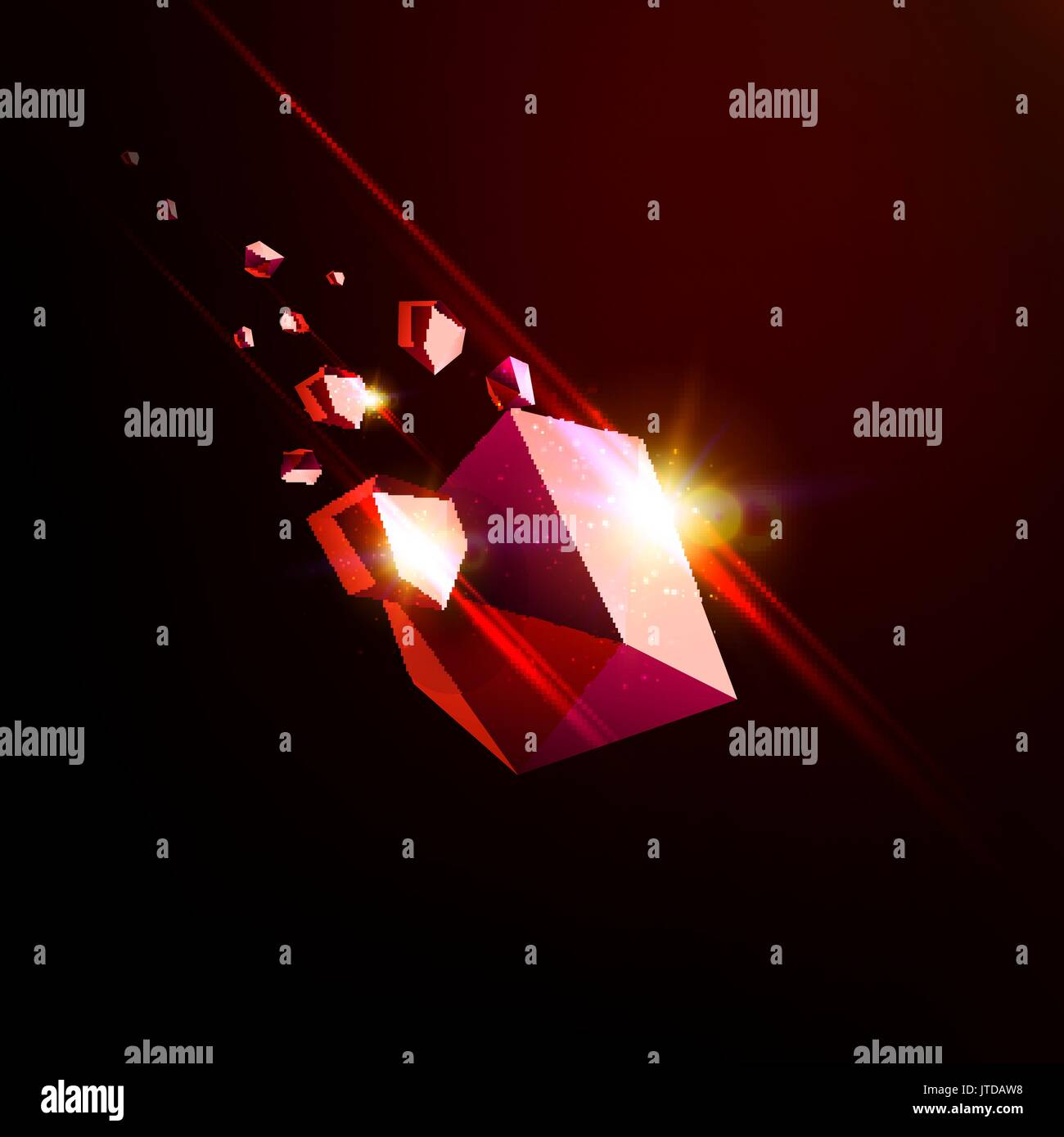 Falling beauty stone, ruby, space debris, red collapsing asteroid ...