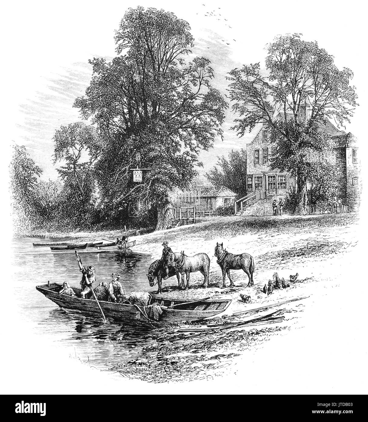 1870: A small Ferry near the Bells of Ouseley Pub on the River The River Thames at Old Windsor, Berkshire, England.  The 'Bells of Ouseley' Pub is supposed to commemorate the bells of Osney Abbey which were brought downstream at the dissolution and disappeared into the mud at this point. - Stock Image