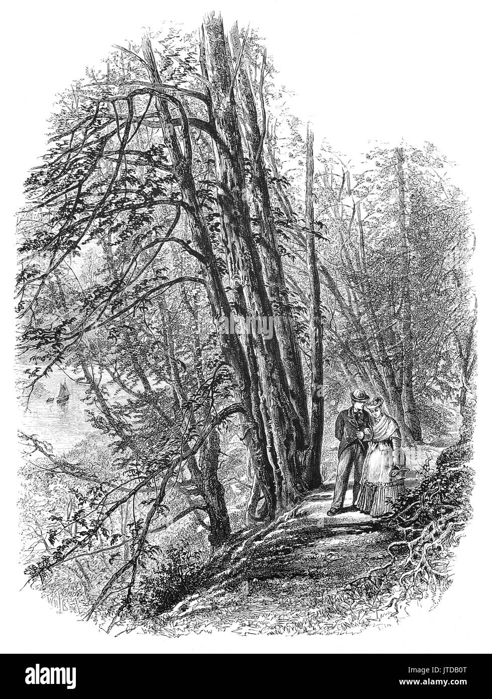 1870: A couple walking in Cliefden Woods on the banks of the River Thames, Berkshire, England - Stock Image