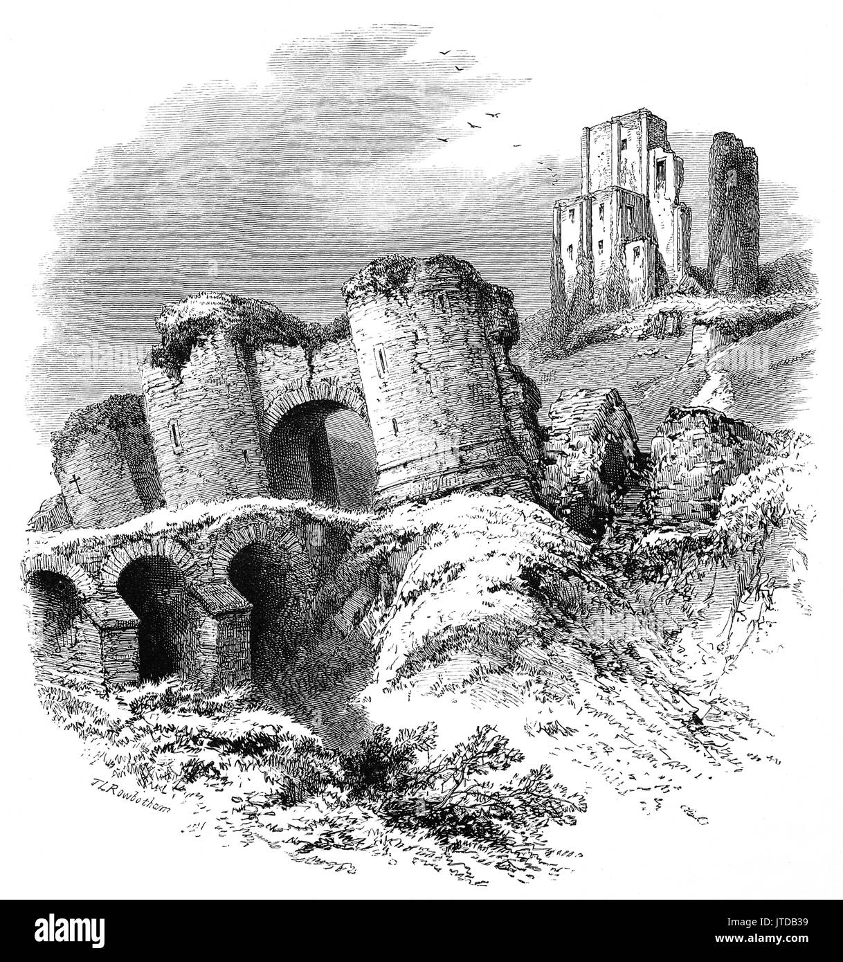 1870: The 10th Century ruins of Corfe Castle that stands above the village of the same name.  It was the site of the murder of Edward the Martyr in 978. During the English Civil War it was a Royalist stronghold and was besieged twice, in 1643 and again in 1646. Dorsetshire, England - Stock Image