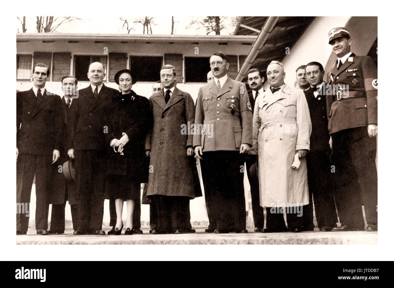 HITLER DUKE DUCHESS WINDSOR The Duke and Duchess of Windsor visting Adolf Hitler on 22nd October 1937, at the Berghof, Stock Photo