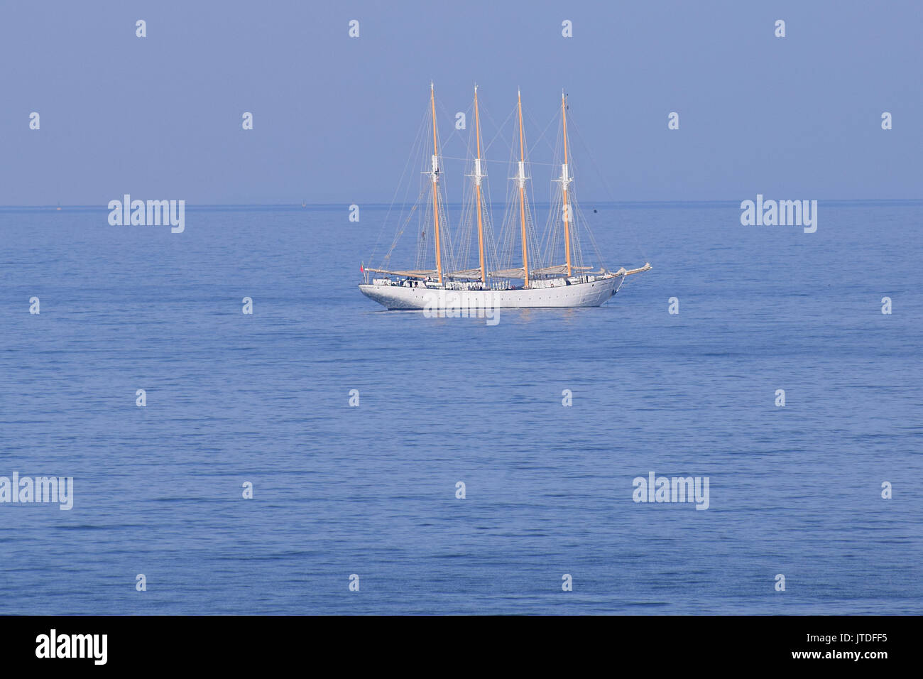 Tall masted ship, moored ready for the tall ships race 2017 - Stock Image
