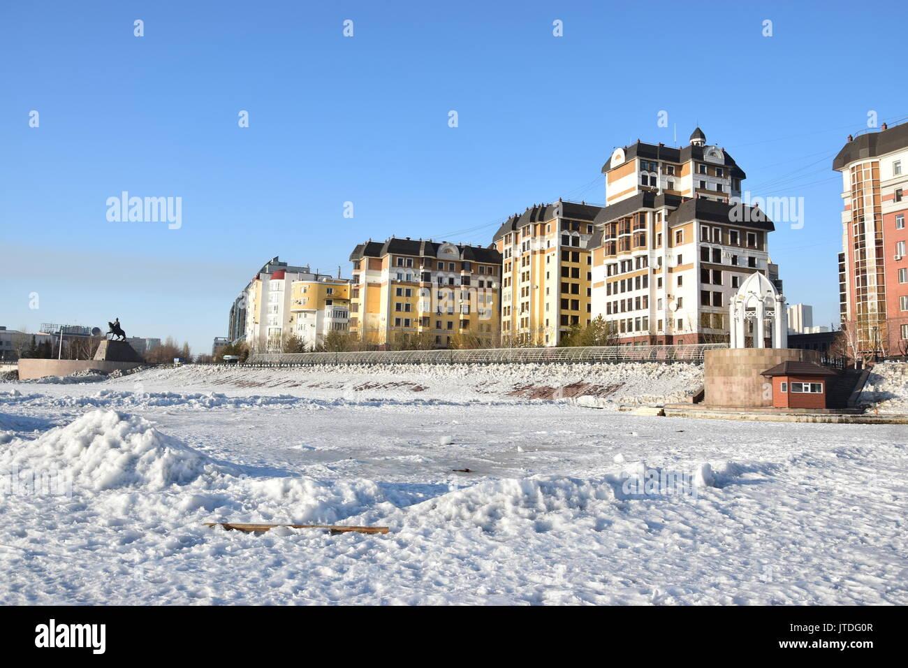 Winter view in Astana, capital of Kazakhstan Stock Photo ...