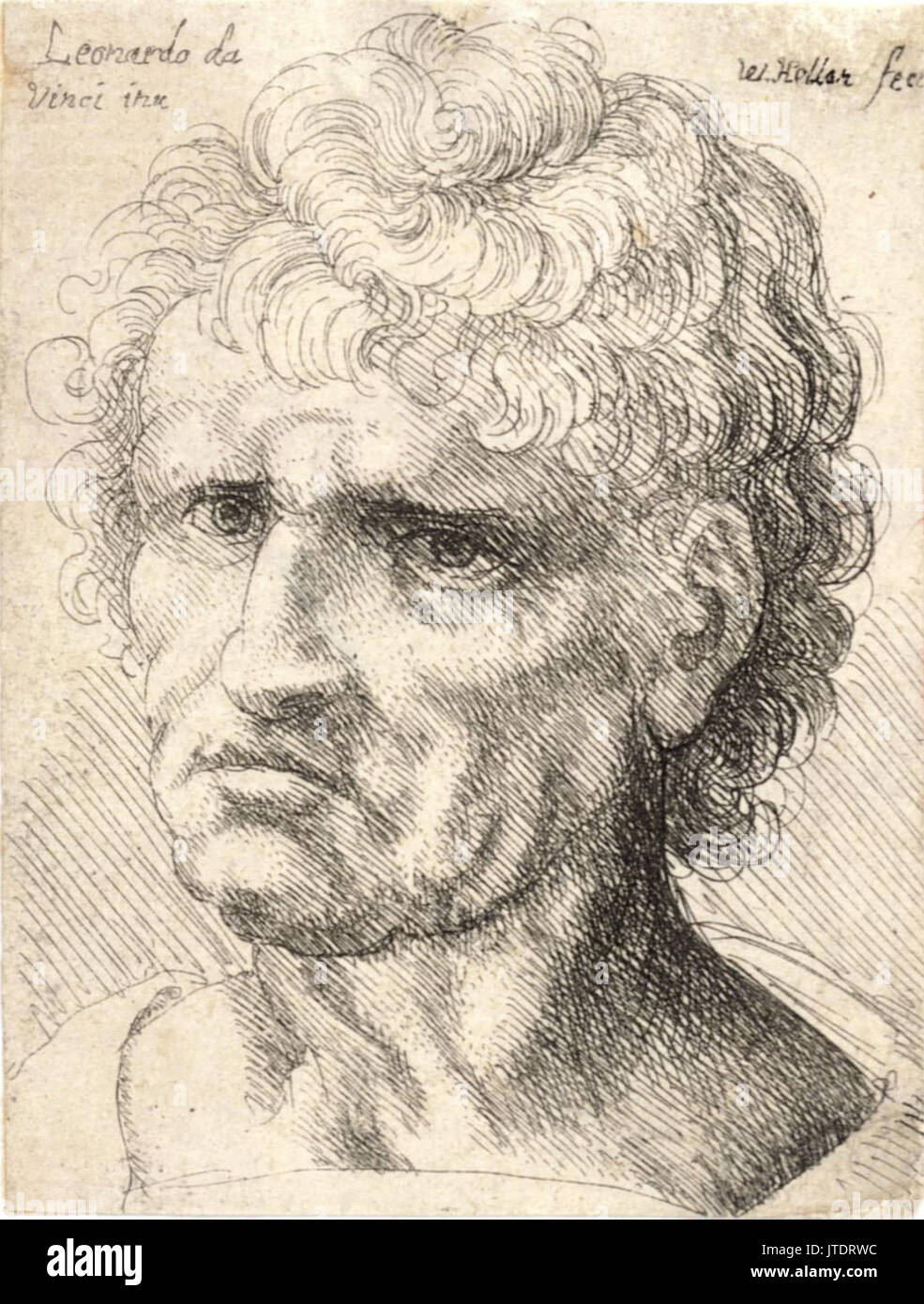 Wenceslas Hollar Man With Thick Short Curly Hair Stock Photo
