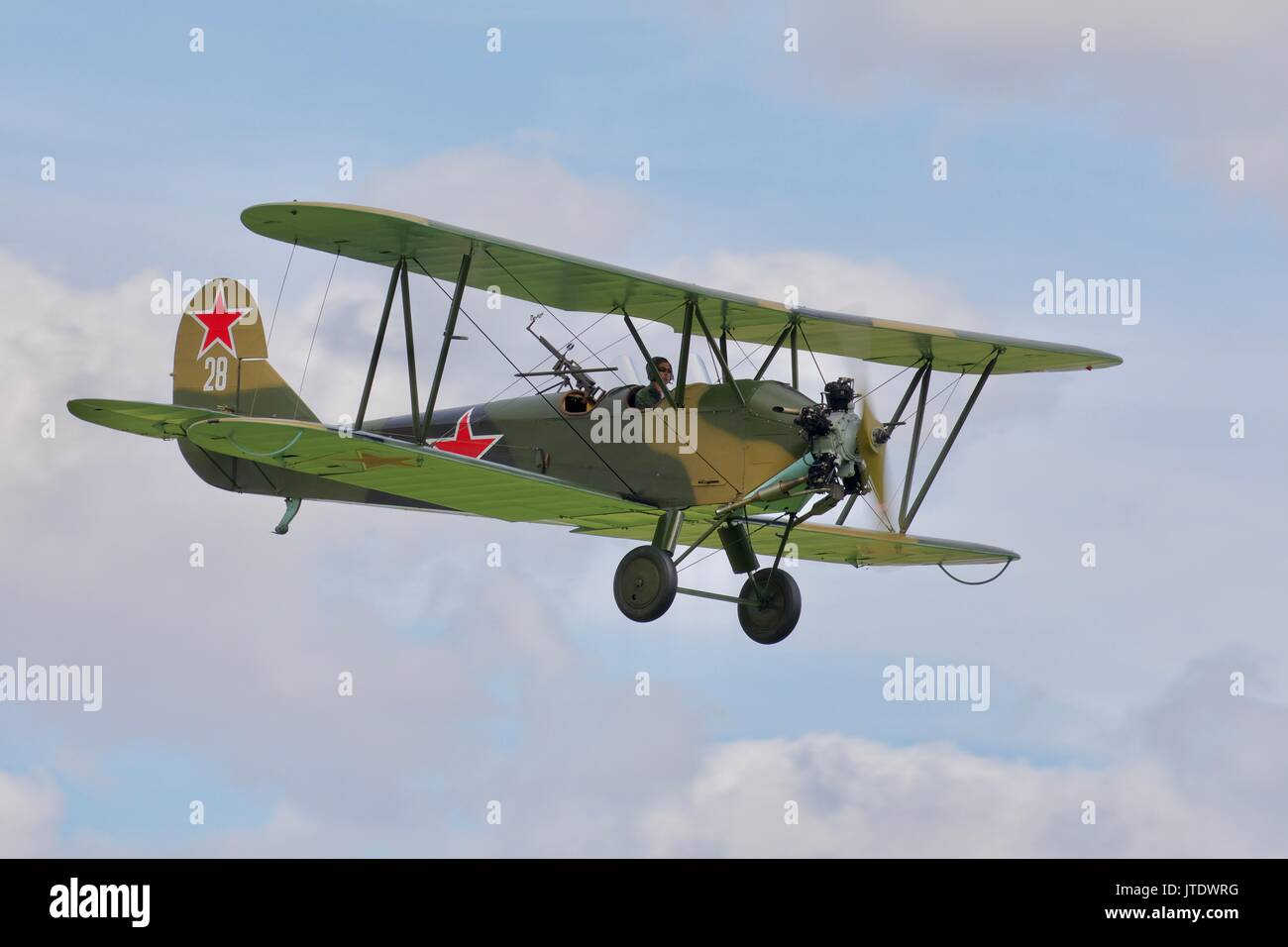 Polikarpov po2 flying at Old Warden Aerodrome - Stock Image