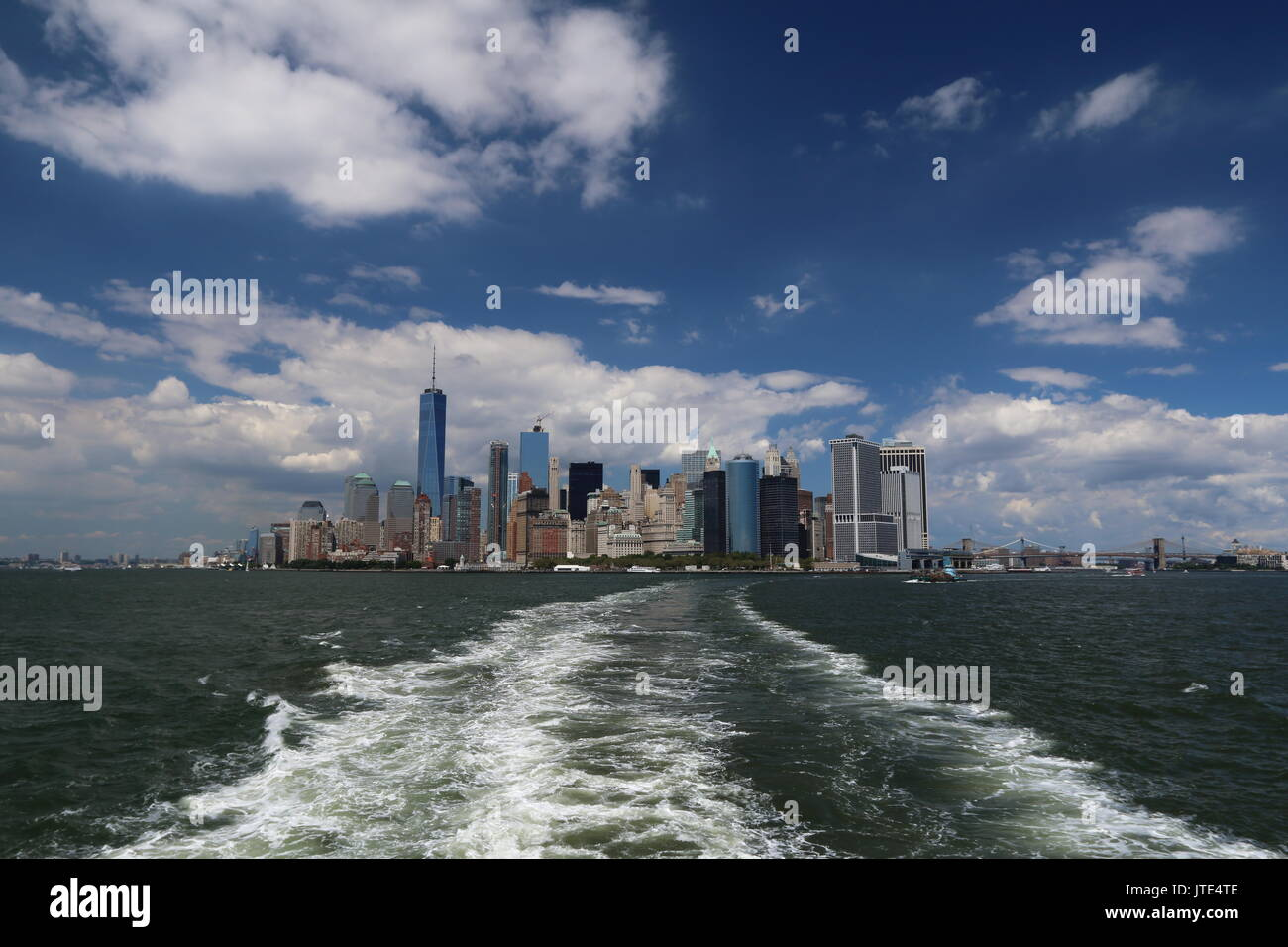 downtown Manhattan from Staten Island ferry - Stock Image