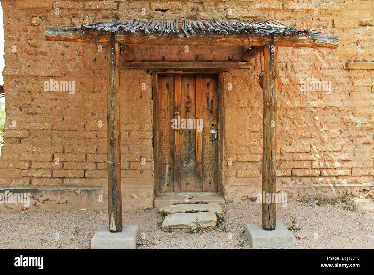 Vail, Arizona, USA, April 10, 2017:  Door of the historic building housing the CCC Museum with copy space on La Posta Quemada Ranch in Colossal Cave M - Stock Image