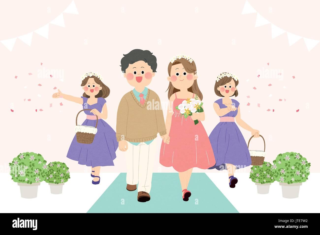 small wedding - Stock Vector