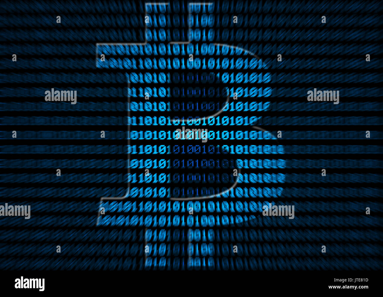bitcoin symbol on binary code background - cryptocurrency - Stock Image