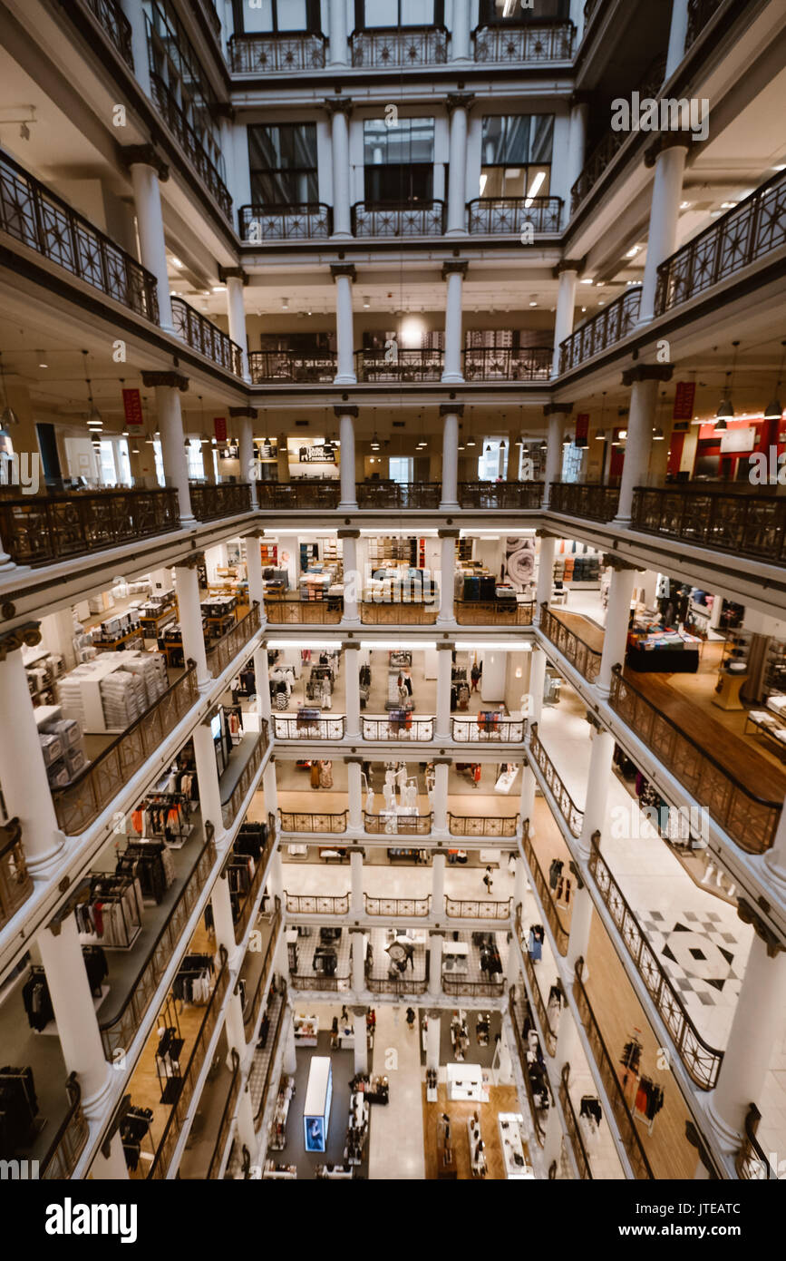 inside macy flag ship store in chicago - Stock Image