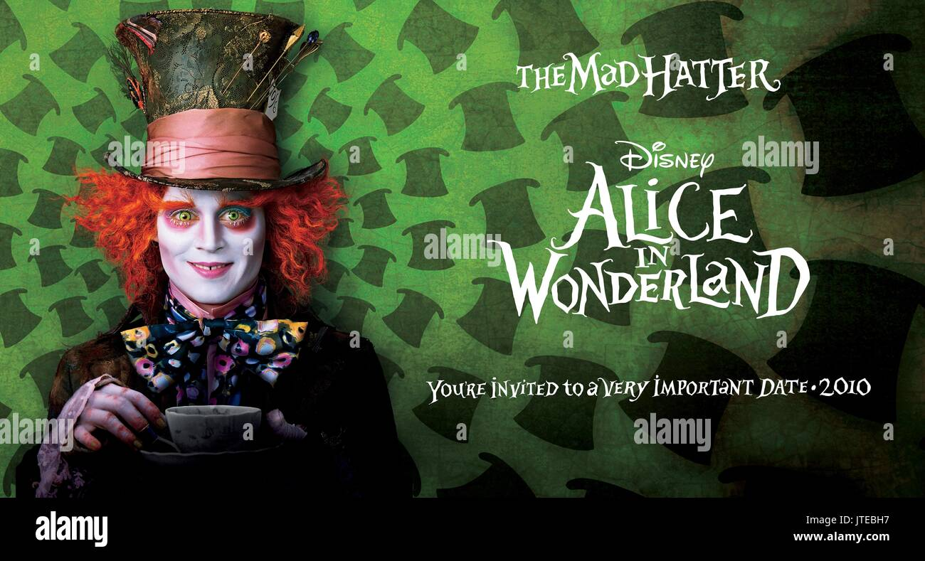 JOHNNY DEPP POSTER ALICE IN WONDERLAND (2010) - Stock Image