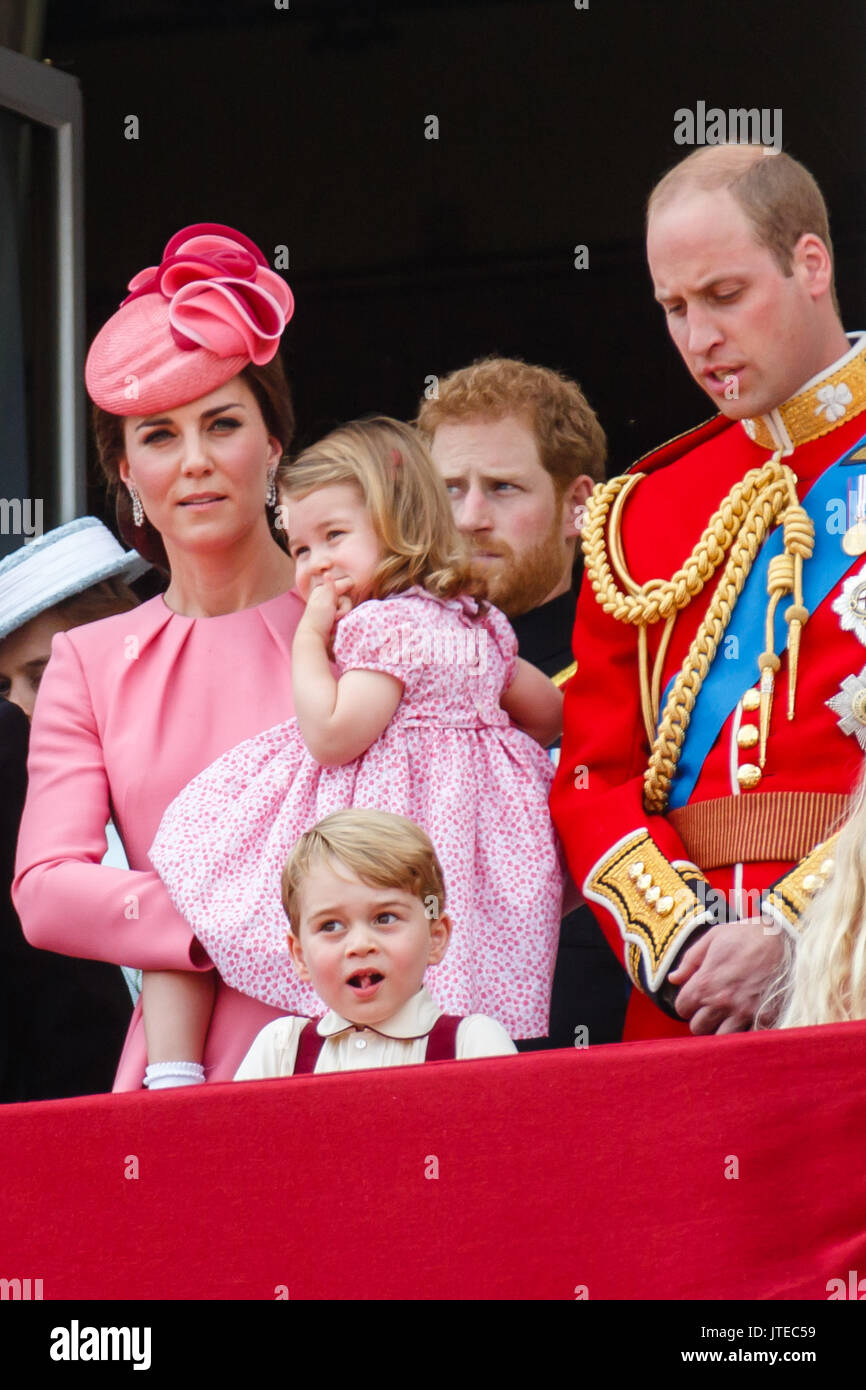 The British Royal family appear on the balcony of Buckingham Palace, London for the traditional fly past, following the Trooping the Colour Ceremony - Stock Image