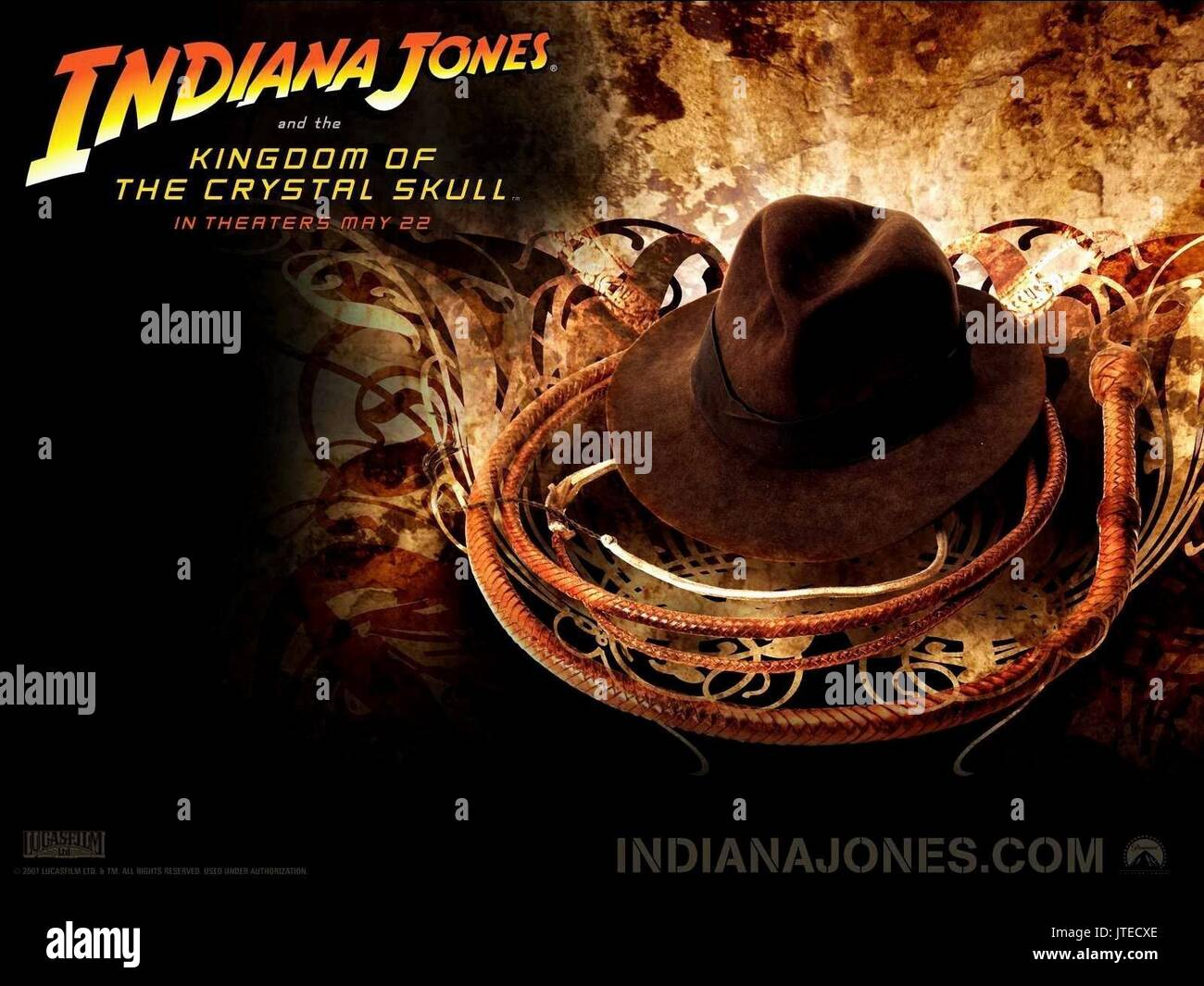 Hat Whip Movie Poster Indiana Jones And The Kingdom Of The Crystal Stock Photo Alamy
