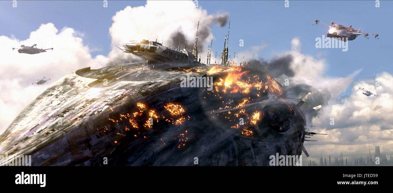 CRASHED TRADE FEDERATION SHIP STAR WARS: EPISODE III - REVENGE OF THE SITH (2005) - Stock Image