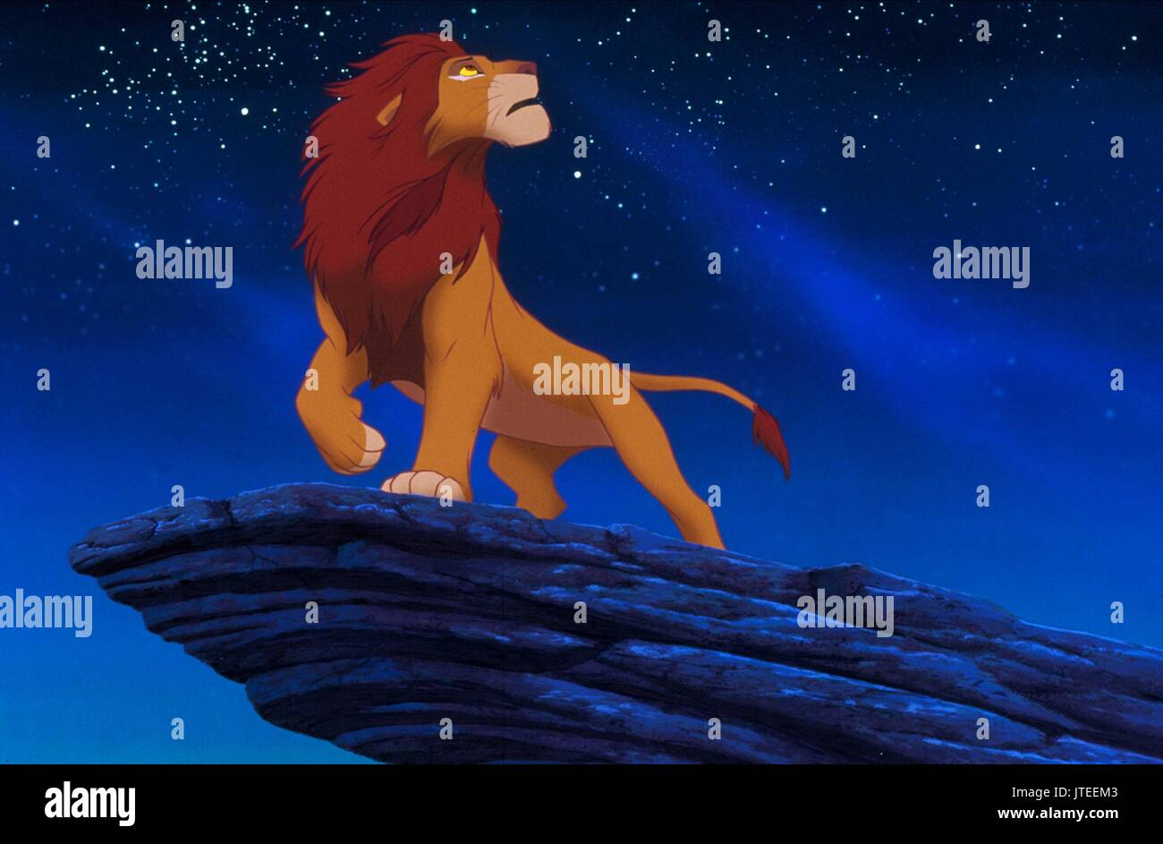 Nice SIMBA ON PRIDE ROCK THE LION KING (1994)   Stock Image