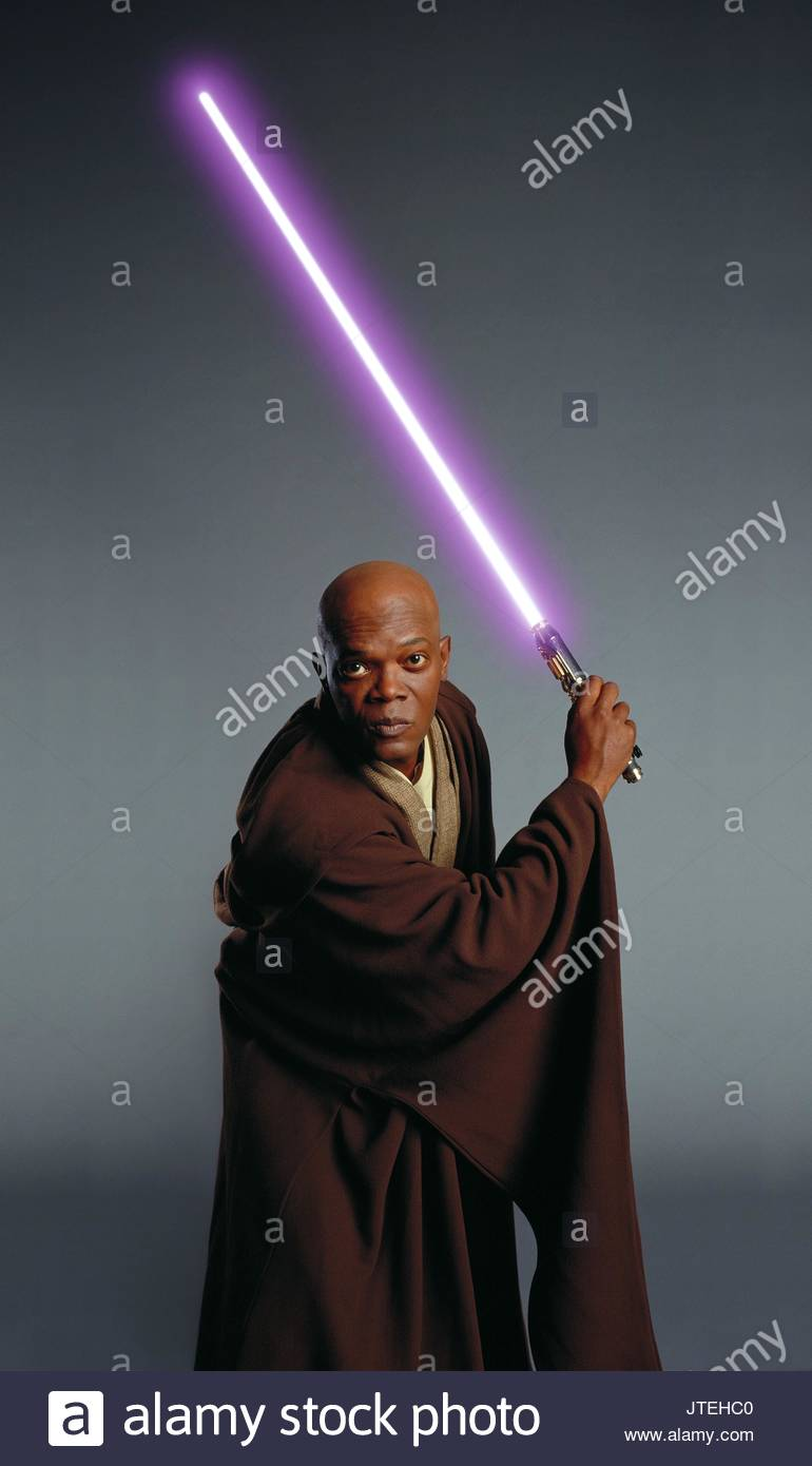 Samuel L Jackson As Mace Windu Film Title Star Wars Stock Photos