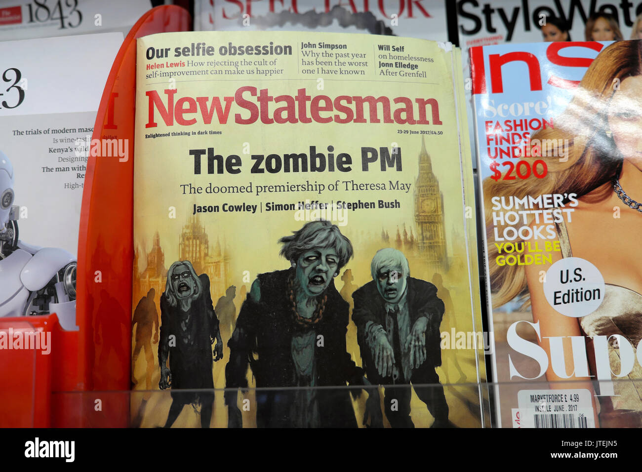 """""""The Zombie PM""""  Theresa May, with Tory MPs Amber Rudd and Boris Johnson and Parliament buildings on the front cover Stock Photo"""