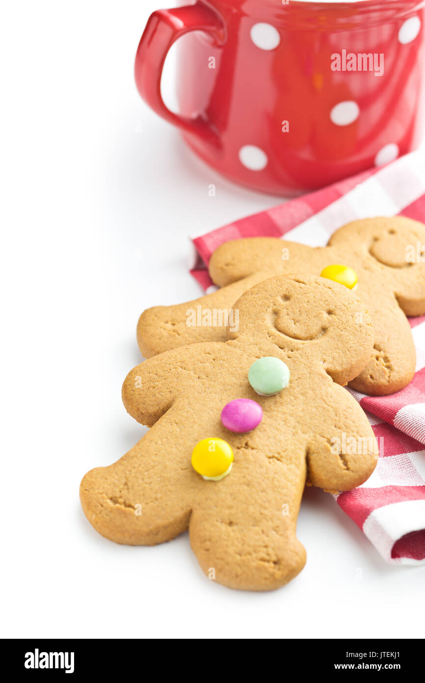 Two gingerbread men isolated on white background. Xmas gingerbread. - Stock Image