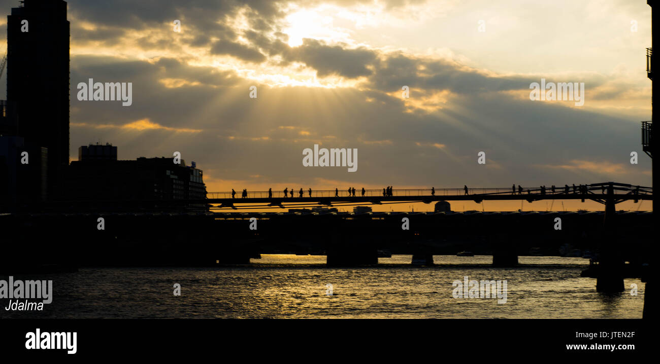 London Millennium Bridget at sunset - Stock Image