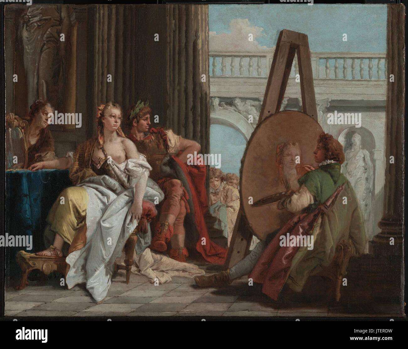 Giovanni Battista Tiepolo (Italian   Alexander the Great and Campaspe in the Studio of Apelles Stock Photo