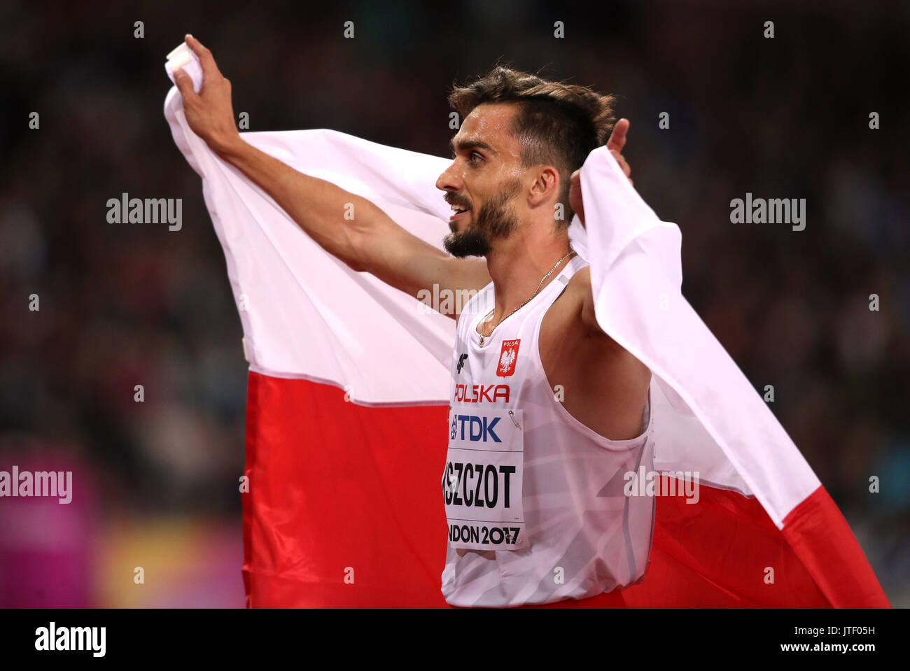 Poland's Adam Kszczot celebrates silver in the Men's 800m Final during day five of the 2017 IAAF World Championships at the London Stadium. - Stock Image