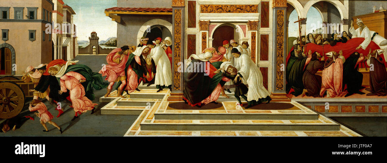 Sandro Botticelli   Last Miracle and the Death of St. Zenobius - Stock Image